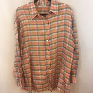 Lord Taylor Silk Blouse Plaid Button Down Shirt